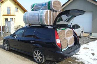 Na přepravu pružné izolace stačí mnohem menší auto